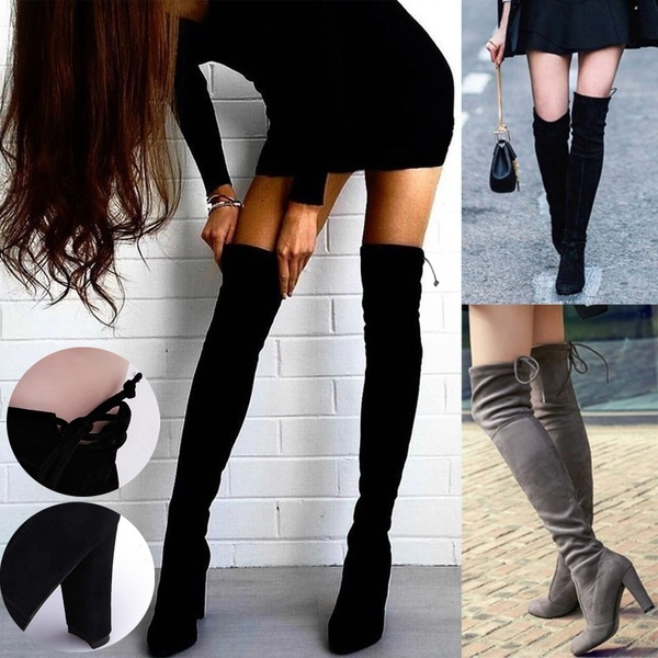 Winter Over The Knee Boots Women Shoes Autumn Flock Pointed Toe Long Boots Lace Up Thin High Heels Sexy Party Ladies Shoes