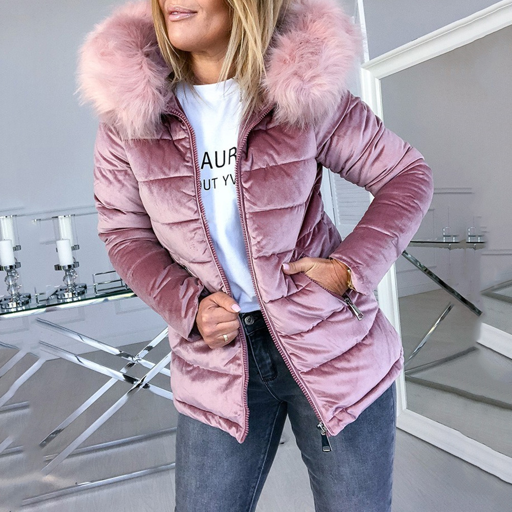 Winter Velvet Jacket Coat Women Cotton Padded Jackets Gray Pink Plus Size 4XL Hood Fur Collar Thick Fashion Basic Snow Outerwear