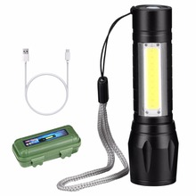 USB Charging Powerful Flashlight 3800LM XPE COB LED Flash Light Zoomable Tactical Torch Lamp+Battery+Box Upgrade Newest Design