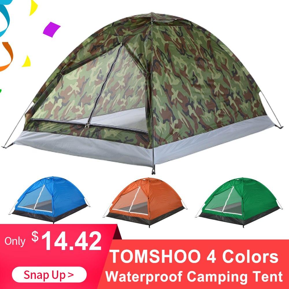 TOMSHOO 2 personnes imperméable Camping tente PU1000mm Polyester tissu monocouche tente pour voyage en plein air randonnée 200*130*110cm