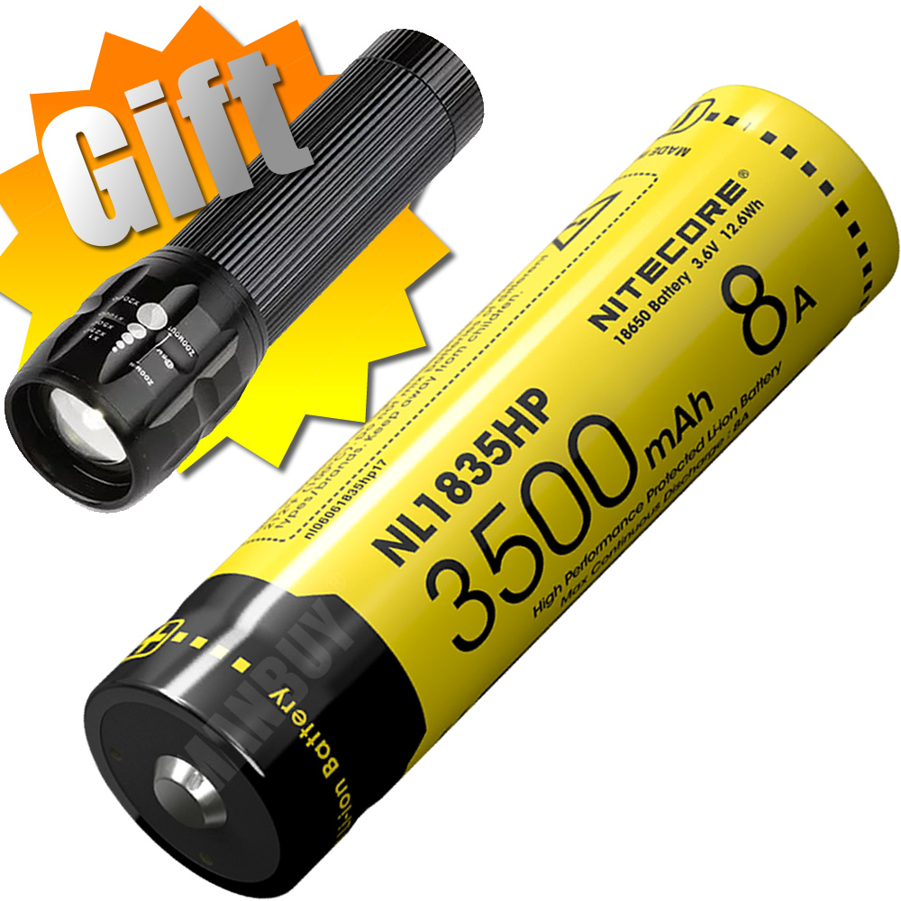 2020 Nitecore NL1835HP High Performance 18650 3500mAh 3.6V 12.6Wh 8A Protected Li-ion Button Top Battery For High Drain Devices
