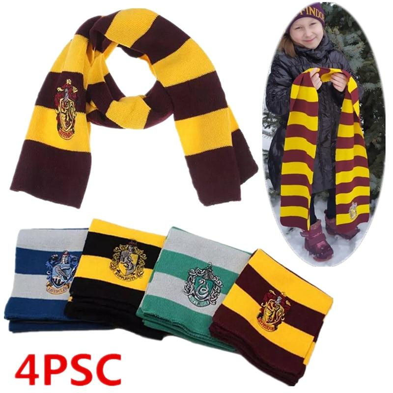 4PC Child&adult Potter Necklace Hermione Boy Girl  School Scarf Tie Cosplay Kids Women Men Halloween New Year  Gift  Hot  Sale