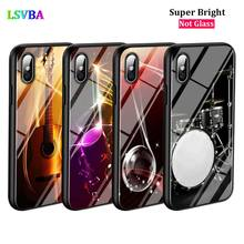 Black Cover Piano Guitar Music for iPhone 11 11Pro X XR XS Max for iPhone 8 7 6 6S Plus 5S 5 SE Glossy Phone Case black cover konosuba megumin for iphone 11 11pro x xr xs max for iphone 8 7 6 6s plus 5s 5 se glossy phone case