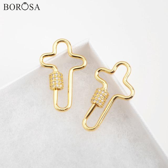 BOROSA or croix fermoir vis connecteur chaud Micro pavé CZ croix serrure fermoirs de fixation bijoux accessoires pour femmes WX1345