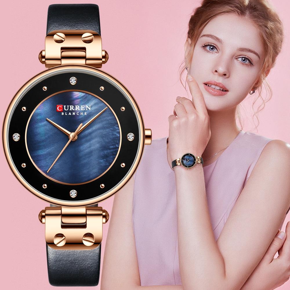CURREN Women Watches Reloj Mujer Top Brand Luxury Leather Strap Wristwatch for Women Blue Clock Stylish Quartz Ladies Watch