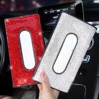 Caja de pañuelos de cristal para coche, juegos de toallas, visera de coche, soporte para caja de pañuelos, almacenamiento Interior, decoración, accesorios de coche con diamantes de imitación