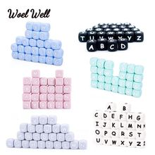 100pcs Russian Letter beads 12mm Alphabet Silicone Beads BPA Free Baby Teething Toys English Food Grade Silicone Name DIY Gift