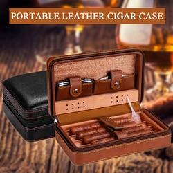 Humidificateur de voyage Portable sans briquet, support étui à cigares en cuir, boîte de rangement en bois de cèdre, humidificateur d'accessoires