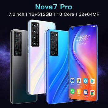 Newest NOVA7 PRO Smartphone 7.2 Inch HD Large Screen Smart Phone 5000mAh 512G ROM Mpbile Phone Global Unlocked Dual Sim Phone 2