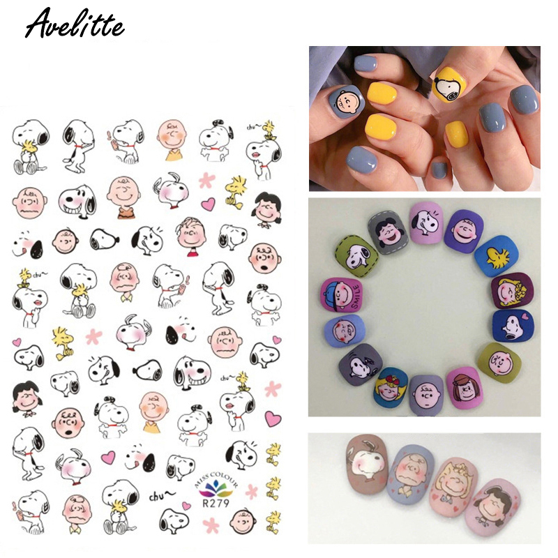 Avelitte Stickers For Nails Manicure Cartoon Stickers Nail Art Stickers Adhesive Tape Nail Patch Decorative Decals