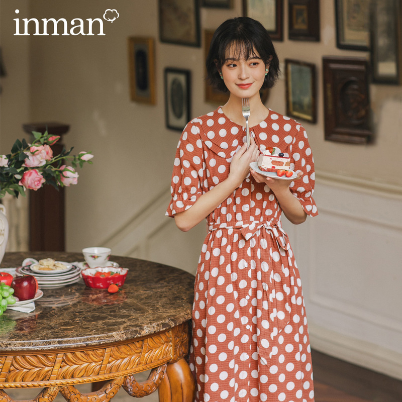 INMAN 2020 Summer New Arrival Doll Collar Retro Wave Point Bowknot Nipped Waist Shourt Sleeve Dress