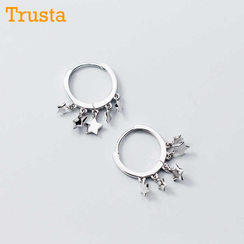 Trusta 2018 Women Fashion 100% 925 Solid Sterling Silver Star Tassel Charm Stud Earring For Women Sterling-silver-jewelry DS1104