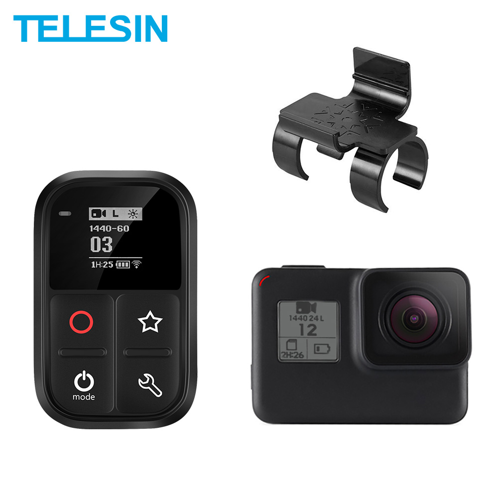 TELESIN Waterproof Wifi Remote Control Self-luminous OLED Set And Shortcut Key + Lock Mount For GoPro Hero 8 7 6 5 3+ 4 Session