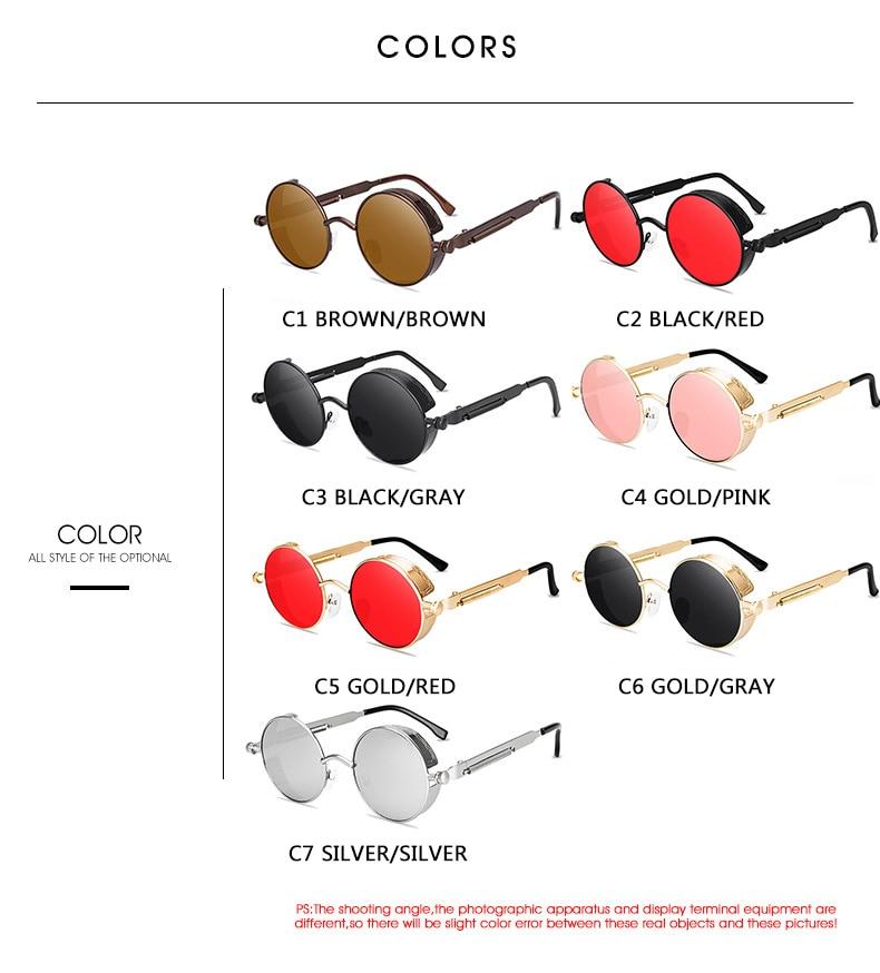 Classic Gothic Steampunk Sunglasses Sun Glasses Men Women Brand Designer  Vintage Round Glasses  Fashion Driving Goggle UV400 3