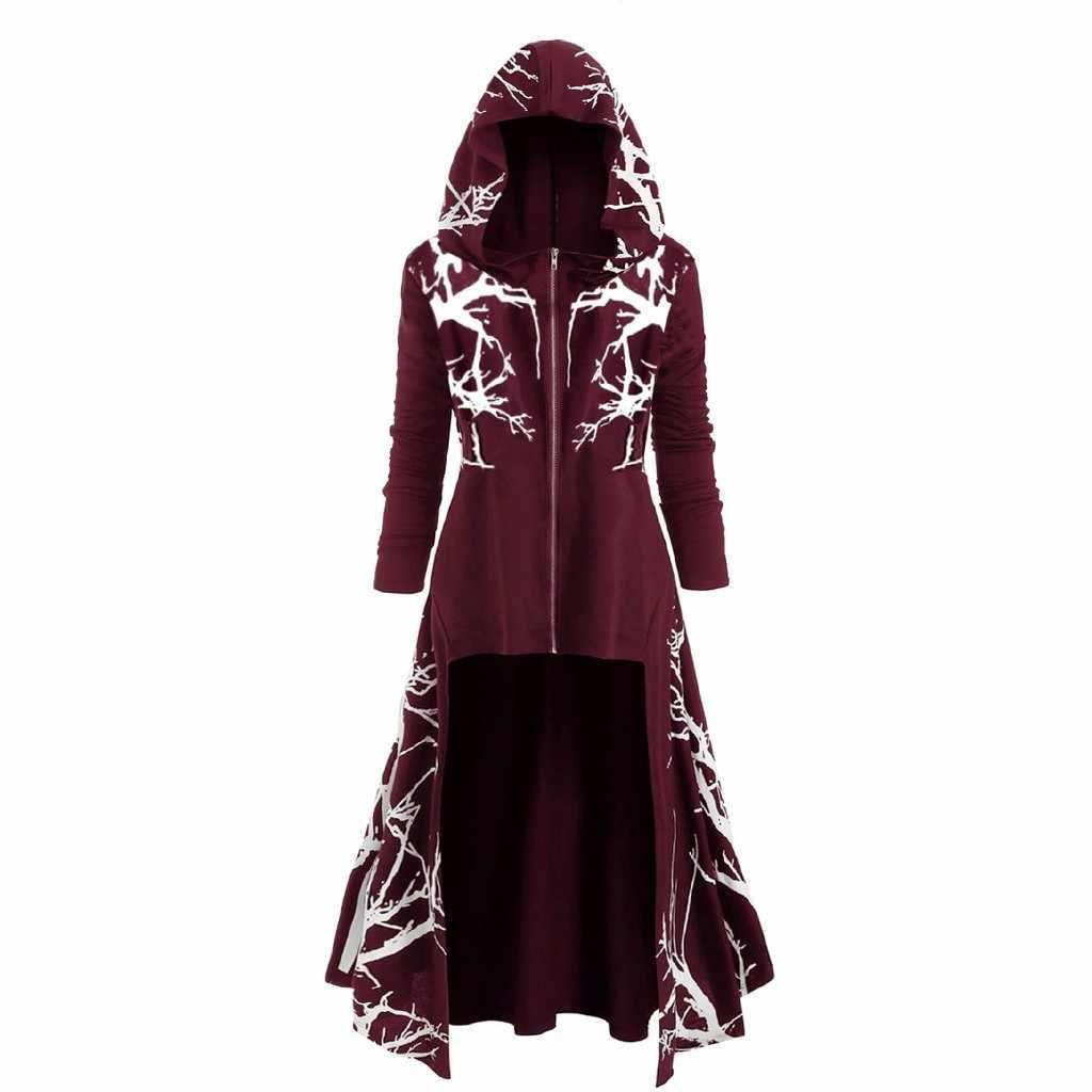 Halloween vestito Alla Moda Delle Donne Casual Con Cappuccio Albero Stampa Alto Basso Cappotto Più Il Formato di Modo del Vestito vestiti da Partito di Cosplay abiti