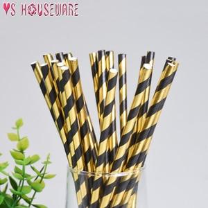 Image 2 - 25pcs stripe paper straw bronzing straw wedding birthday party decoration supplies environmental drinking straw dining tools