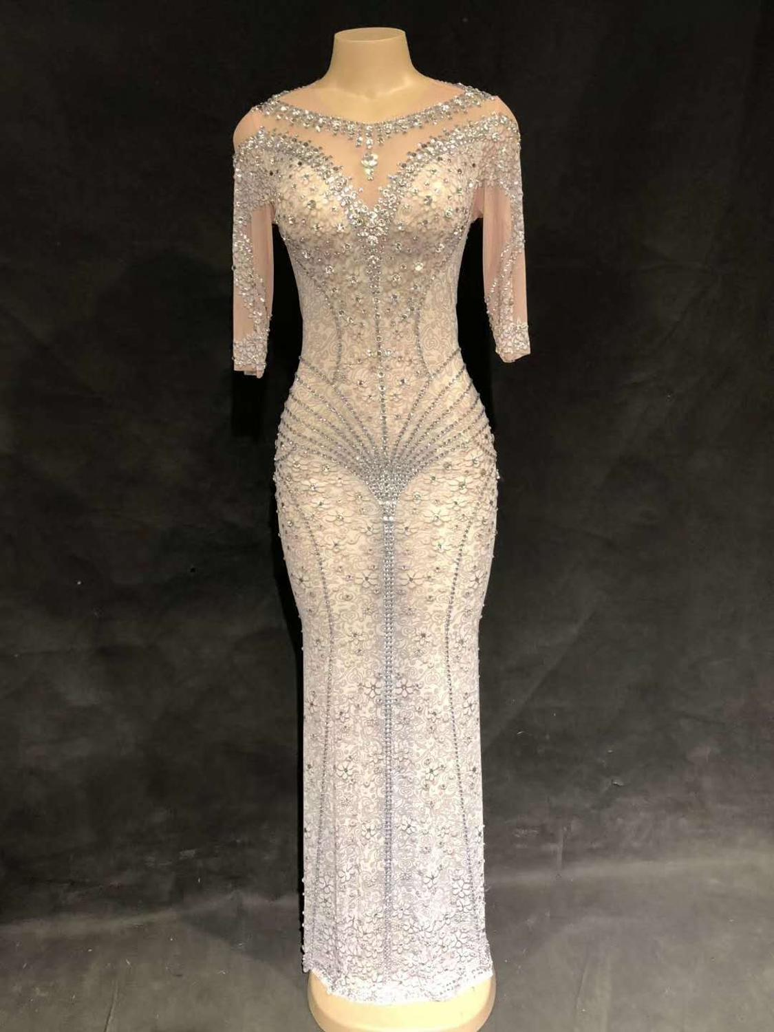 High Quality Silver Mesh Beading Nightclub Party Dress High Elasticity Dress Dancer Costumes