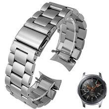 HQ-correa de reloj de acero inoxidable para Samsung Galaxy Watch, banda deportiva de SM-R800 de 46mm con extremo curvo, pulsera de plata y negro