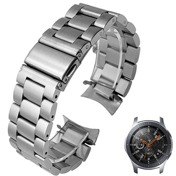 HQ Stainless Steel Watchband for Samsung Galaxy Watch 46mm SM-R800 Sports Band Curved End Strap Wrist Bracelet Silver Black - discount item  25% OFF Watches Accessories