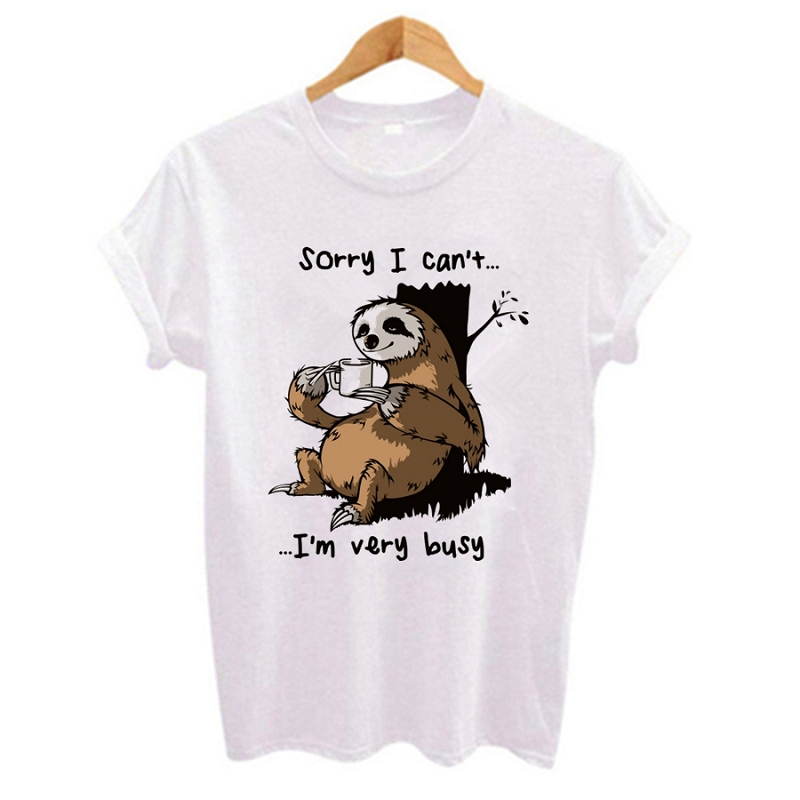 Women t shirt 2020 Cartoon sloth Print Casual Short Sleeve O-Neck t-shirt Cute style Tumblr tshirts female t shirt