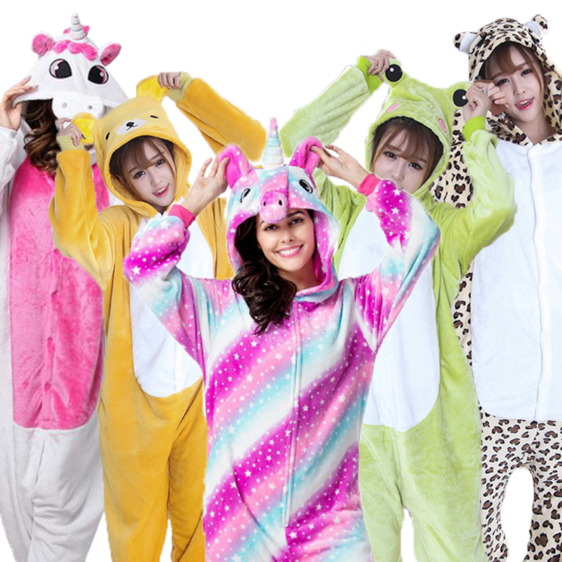 women men animal unicorn stitch   pajamas     set   winter flannel hooded anime sleepwear cosplay women's unicornio homewear Pijamas