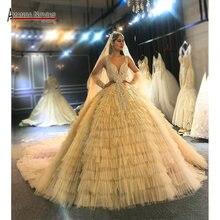 Amanda Novias original design champagne color wedding dress real work top quality