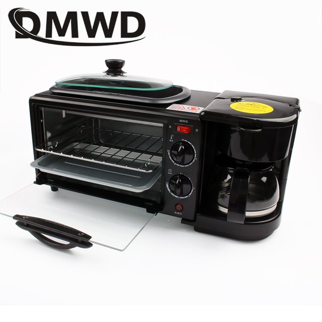 DMWD Electric 3 in 1 Breakfast Machine Multifunction Mini Drip American Coffee Maker Pizza Oven Egg Omelette Frying Pan Toaster 3