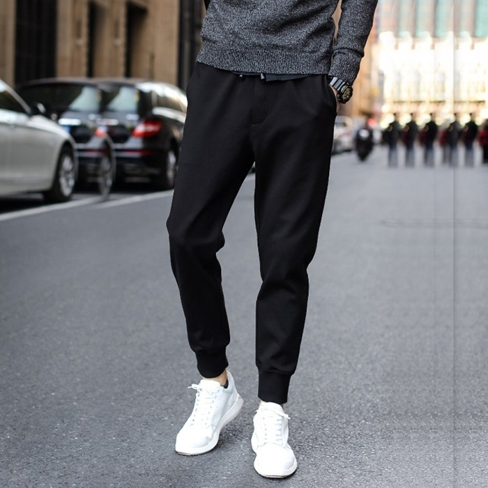 New Style Men And Women Wearable Solid Black Beam Leg Skinny Pants Trousers Teenager Students Slim Fit Slimming Sports Men's