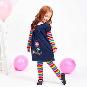 Image 5 - Meninas conjuntos de roupas meninas roupas até o joelho vestido + leggings crianças roupas ternos padrão estampado vestidos + calças ternos 3 8y