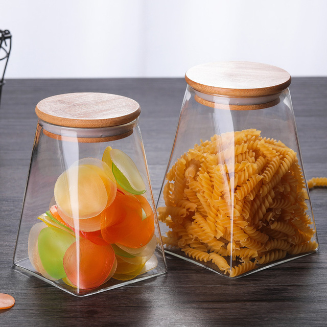 350ml/500ml/750ml/950ml Coffee Jar Tea Jar  sugar jar  glass container  candy jar Storage Container Kitchen Container Cover 5