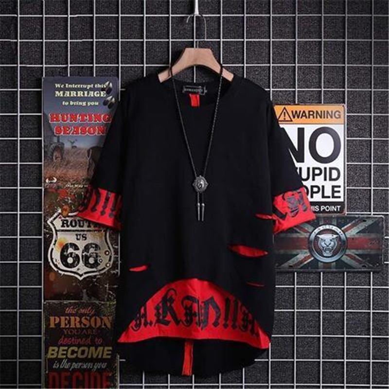 2020 New Hip Hop Hooded Short Sleeve Sweatshirt Men Europe Style Summer Japanese Personality Ribbon Fake Two Hooded T-shirts