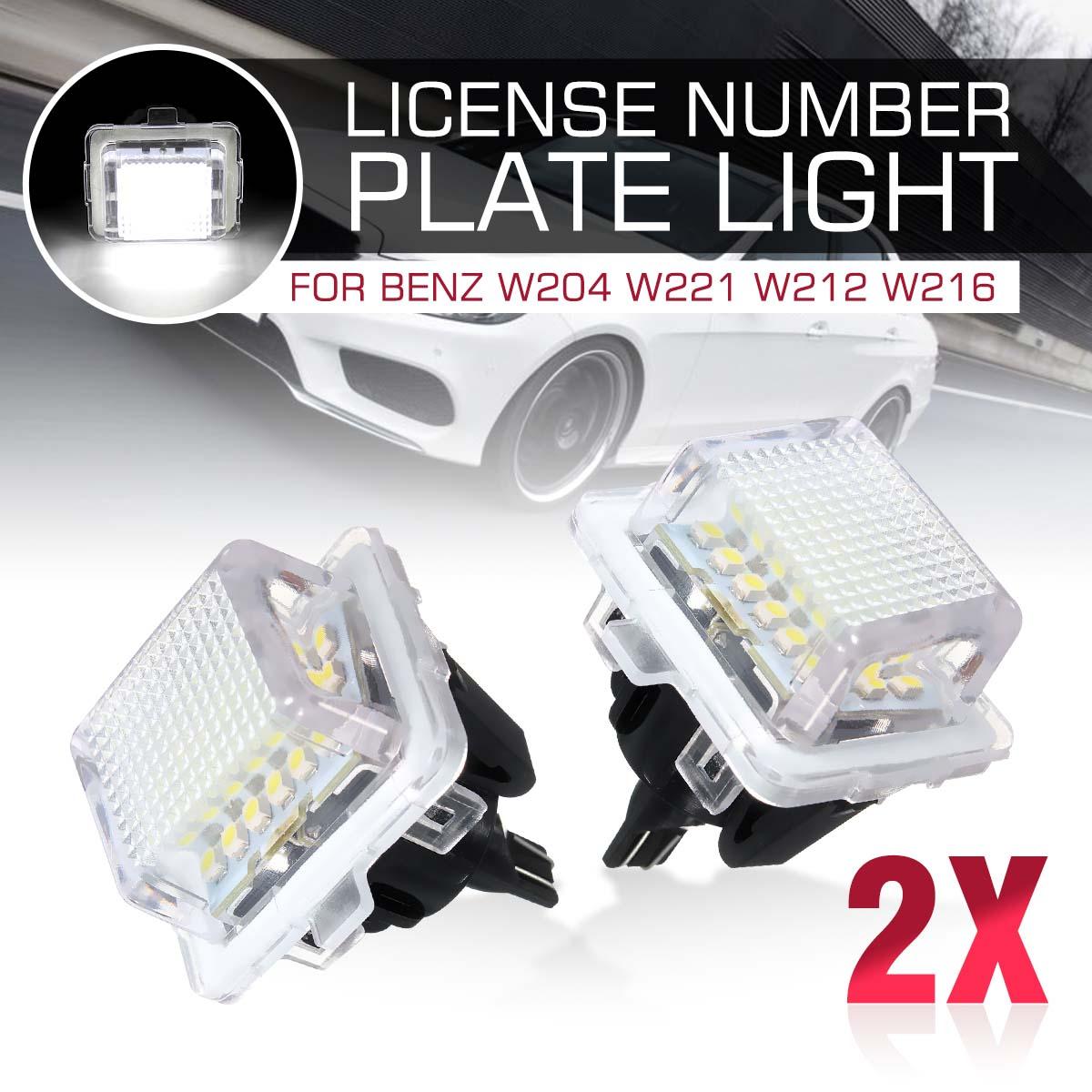 2pcs LED Car Number License Plate Light No Error For Mercedes-Benz W204 W204 5D W207 W212 W216 W221