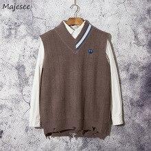 Men Sweater Knitted Vests Harajuku Korean-Style Sleeveless V-Neck Chic Male Fashion Winter