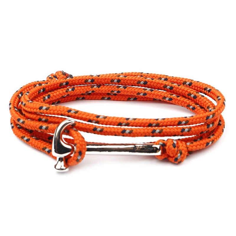 Nowa moda młotek bransoletki mężczyźni urok przeżycia liny łańcuch 3mm Paracord mężczyzna Wrap Sport hurtownie Sliver kotwica