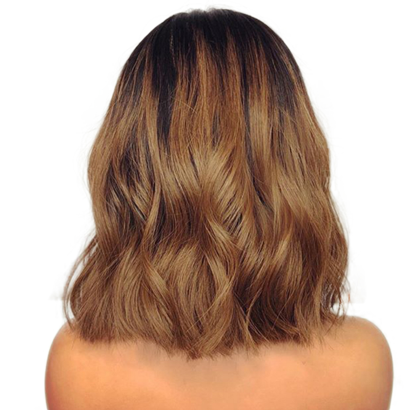 Blonde Ombre Loose Wave 13x4 Lace Front Wigs  Dark Roots 1B/30 2 Tone Brazilian Remy Human Hair Short Wigs Side Part Eseewigs