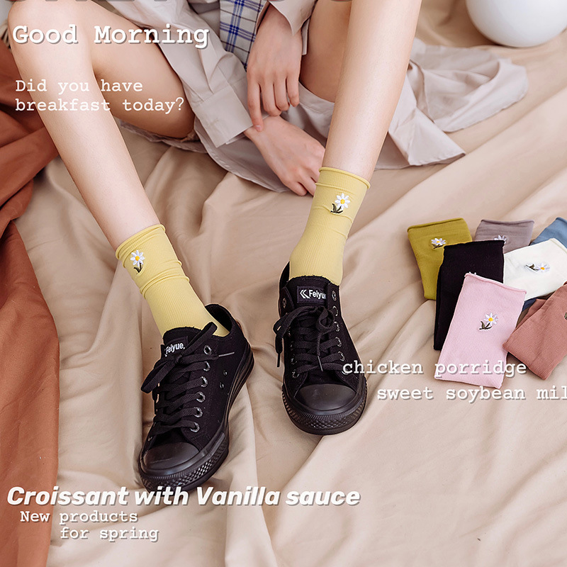 Fashion Women Socks 2020 New Fashion Embroidery Color Casual Long Socks Korea Style Sweet Funny Socks Female Summer Adult