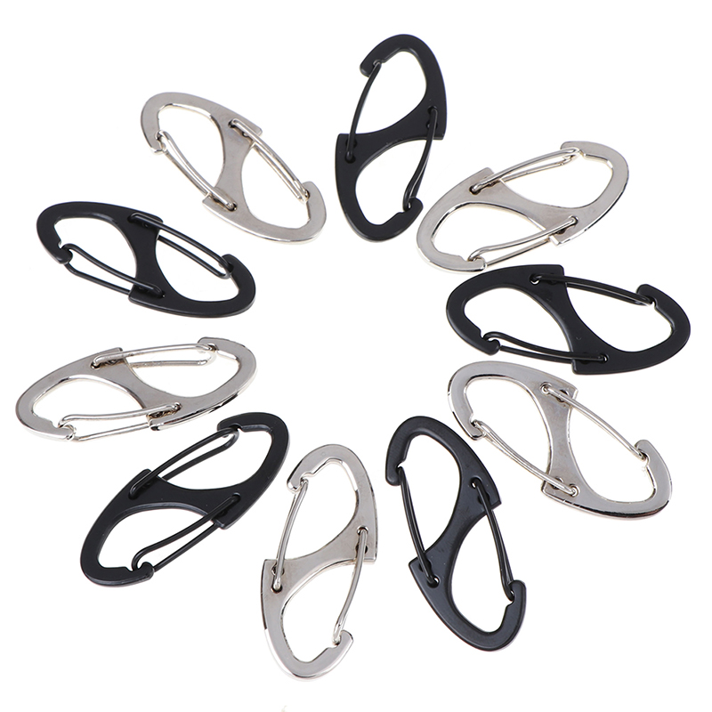Locking Carabiner Keychain 8 Ring Quick Release Clip Buckle Protable Quickdraws Hiking Climbing Camping Tool Gear 5pcs