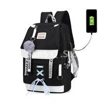 College School Backpack For Girl Waterproof Bag Usb Backpack