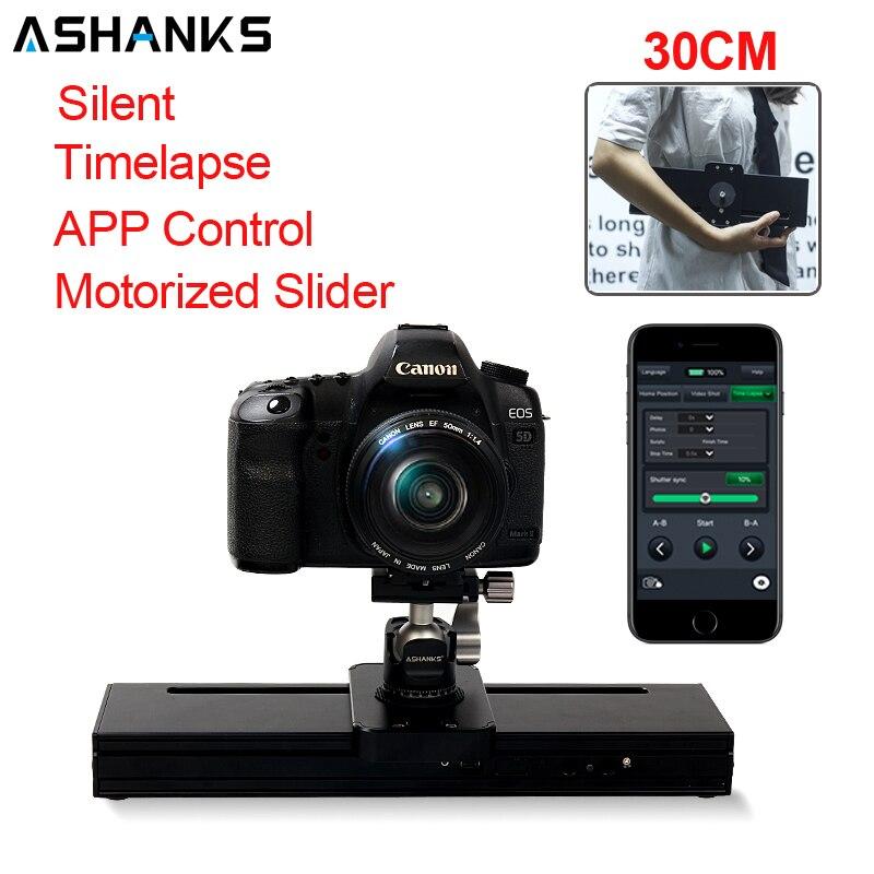 Tüketici Elektroniği'ten Ray Sistemleri'de ASHANKS step Motor motorlu Timelapse Video kamera kaymak MINI 32CM ray alaşımlı alüminyum elektrik kontrol DSLR Youtuber title=