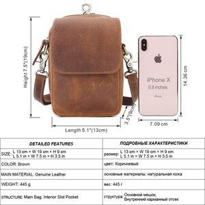 Image 3 - Flanker crazy horse leather men waist pack vintage small waist bag hook hip bag belt bag travel fanny pack with cell phone pouch