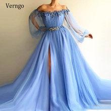 Синие вечерние платья verngo с открытыми плечами и длинными