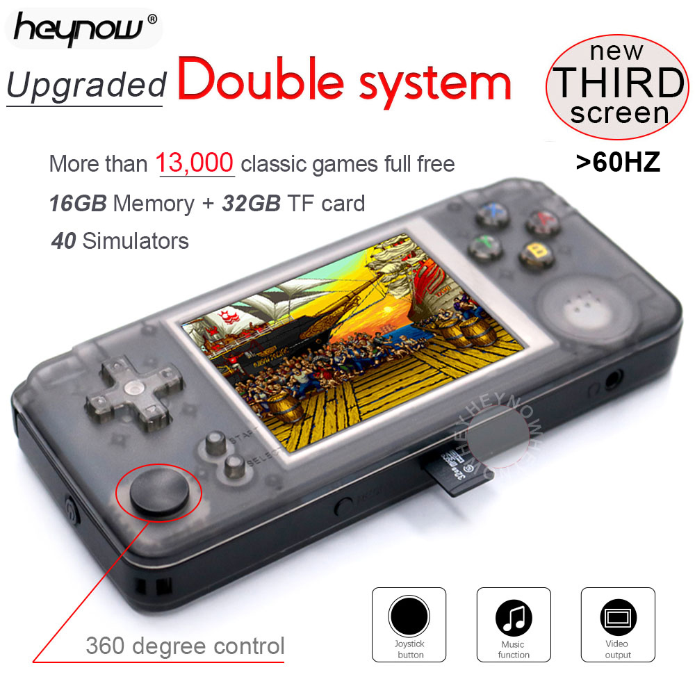 rs97 Upgraded Double system Retro Game Console 40 Simulators 64bit 3 0inch Portable Handheld Game Player