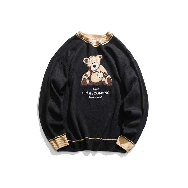 Japanese Harajuku Knitted Bear Embroidery Sweater For Men And Women Streetwear Hip Hop Knit Graphic Pullover Jumper Plus Size