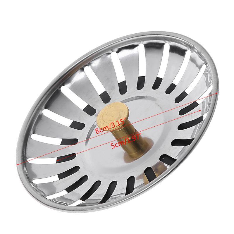 Kitchen Waste Stainless Steel Sink Strainer Plug Drain Filter Stopper Basket Drainer 4XFB