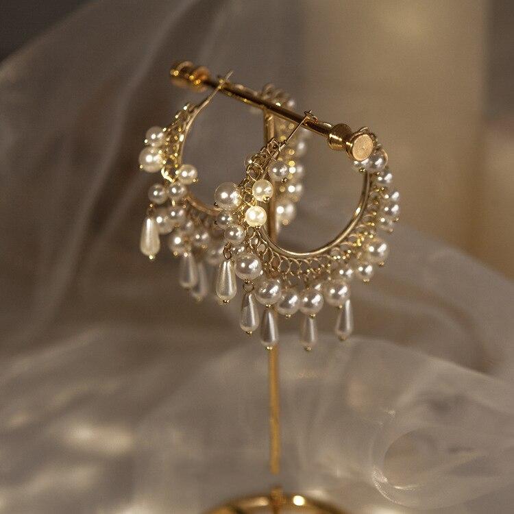 Новые Кристальные висячие серьги, ювелирные изделия из жемчуга, женские свадебные подарки, популярные вечерние серьги, аксессуары