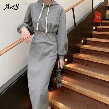 Anbenser New 2021 Womens Dress Spring Solid Hooded Fashionable Slim Elegants Long Dresses Split Vintage Elasticity Casual