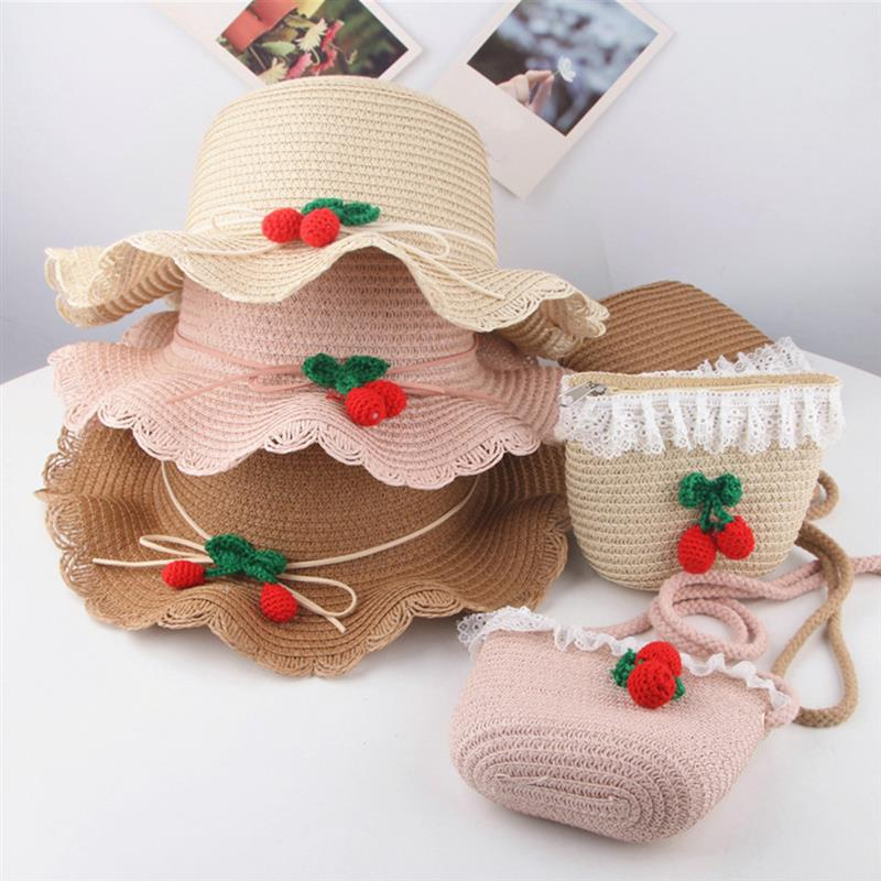 Kids Beach Hat Set  Straw Hat Outdoor Hat Sun Hat Bucket Hat With Crossbody Bag For Girls For Kids