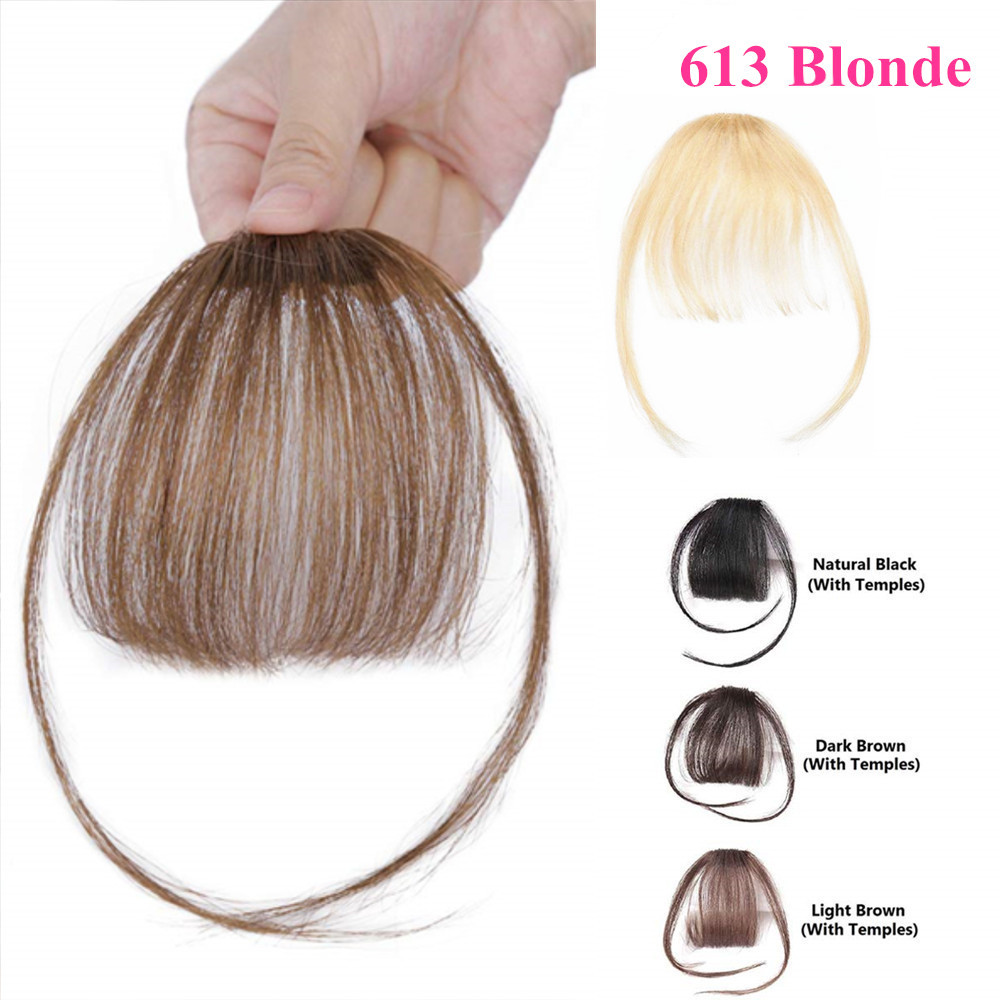 613 Blonde Clip In Bangs Human Hair Flat Air Fringe Bangs Invisible Brazilian Hair Pieces Non-remy Replacement Hair Wig