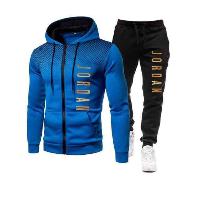 2021 fashion hot autumn/winter new menswear zipper hoodie + pants suit casual sports sportswear 5