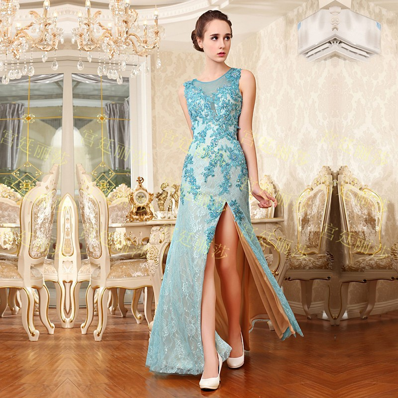 2018 Luxury Crysta Lvestidos Formal Brides Lace Beaded Red Blue Long Sexy Evening Gowns Party Prom Mother Of The Bride Dresses